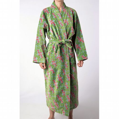 Printed Cotton Velvet Robe - Cyclamen Silex